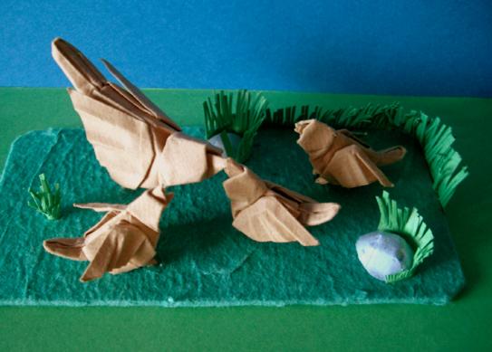 оригами воробей.